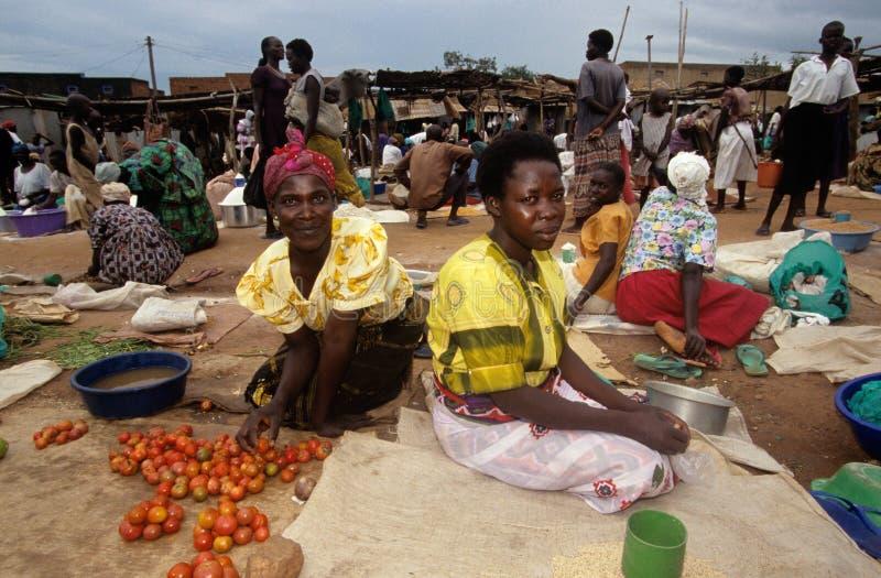 Market scene in a village, Uganda stock photo
