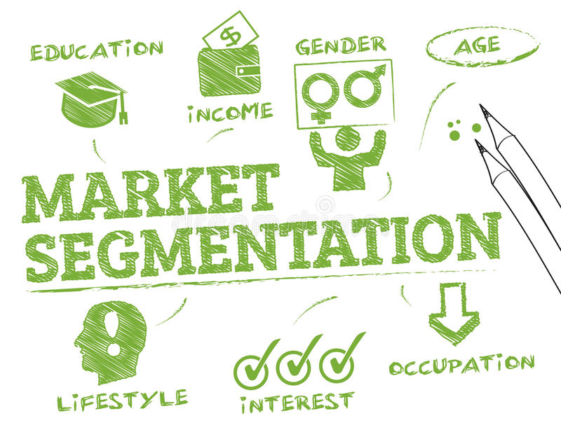 Market segmentation. Chart with keywords and icons stock illustration
