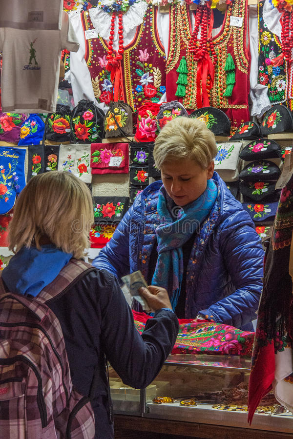 Market Seller. In the Market Building in Old Town Square Krakow Poland royalty free stock photo
