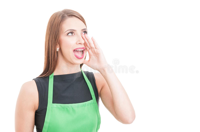 Market seller calling or screaming at someone. With mouth wide open isolated on white background and copyspace stock image