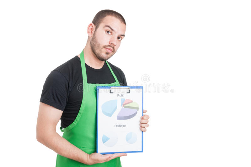 Market seller holding clipboard with profit and prediction. Isolated on white background with copy text space stock photography