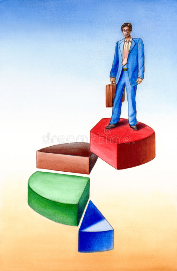 Market share. Businessman standing on a 3D pie chart. Hand painted illustration royalty free illustration