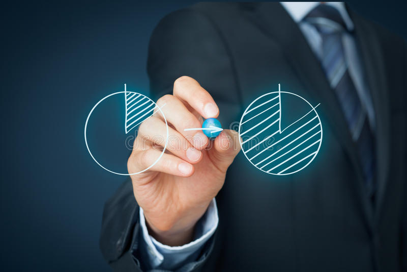 Market share. Or Pareto principle (80/20) concept. Businessman draw graph increasing company  and apply Pareto principle stock images