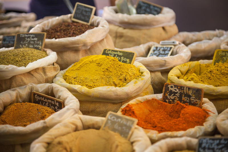 Market spices Provence France. Spices on a market in Provence, France stock photos