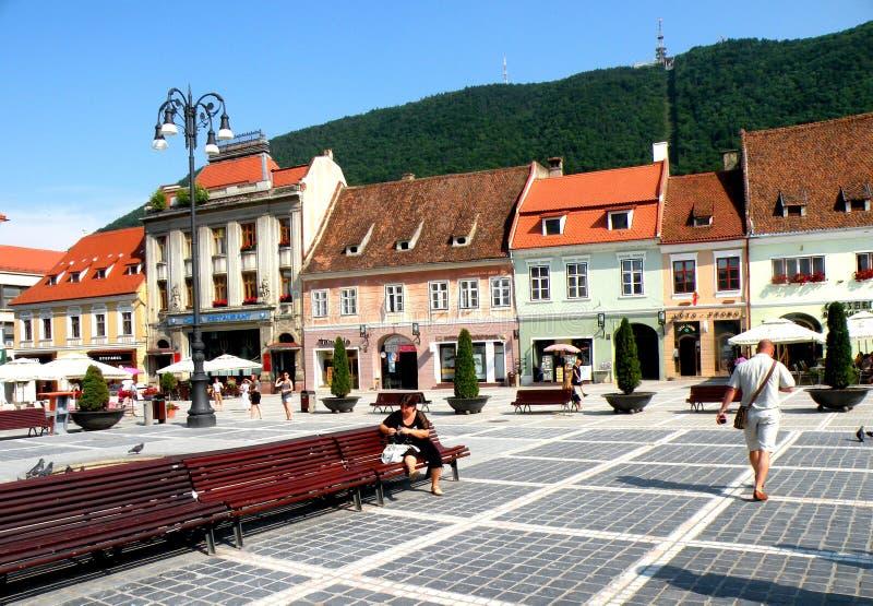 Market square in Brasov (Kronstadt), in Transilvania. stock photography