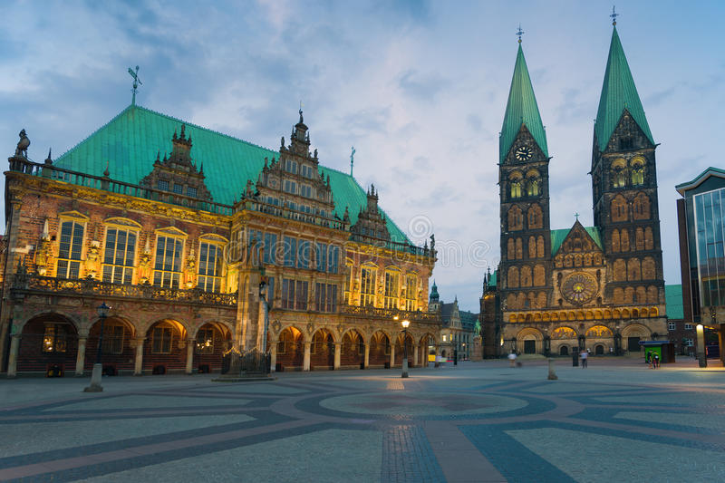 The market square in Bremen. At night royalty free stock photography