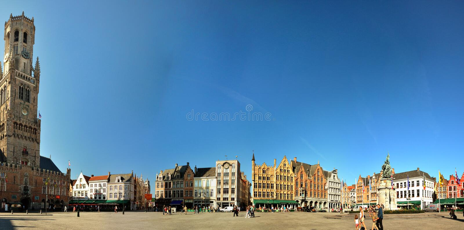 Market square in Bruges. Belgium, with the belfry stock photography