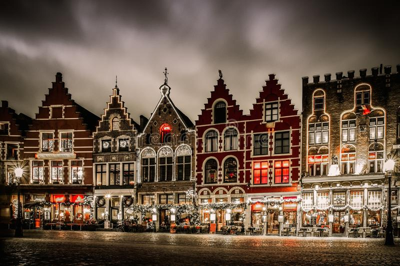 Market square in Bruges, Belgium. Decorated and illuminated Market square in Bruges, Belgium royalty free stock photos