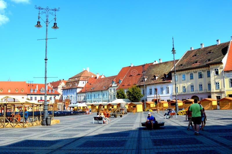 Market square in the city Sibiu, Transylvania stock images