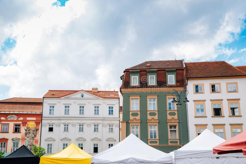 Market square colorful buildings in Brno, Czech Republic royalty free stock photo