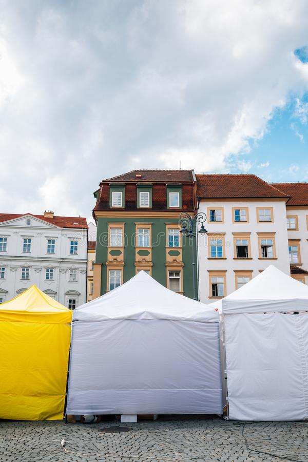 Market square colorful buildings in Brno, Czech Republic royalty free stock images