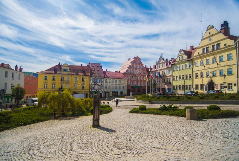 Market square in Duszniki-Zdroj resort with a stone pillory stock images