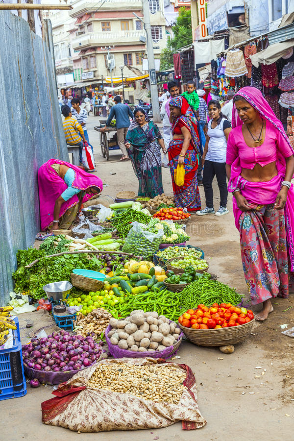 Market Square for Fruits and Vegetables in Pushkar, India stock photos