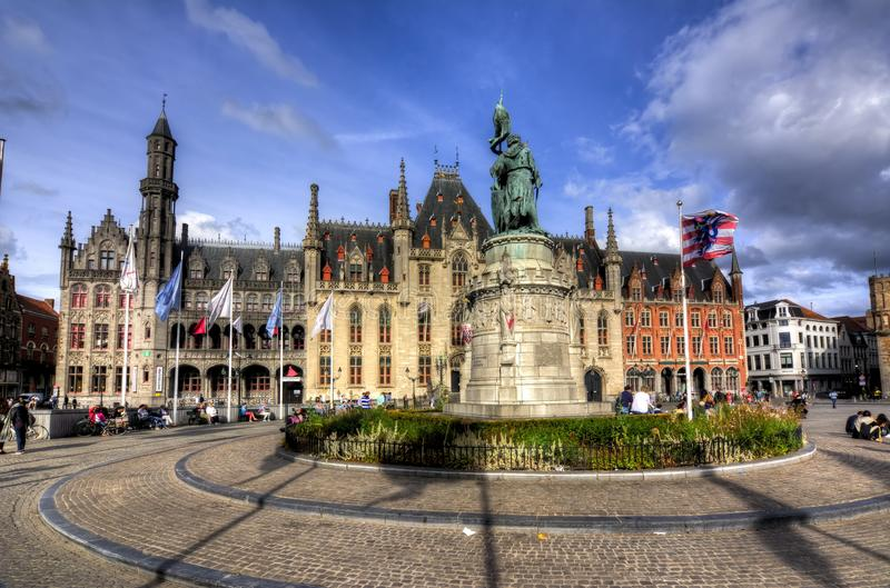 Market square Grote markt in Bruges, Belgium stock photo