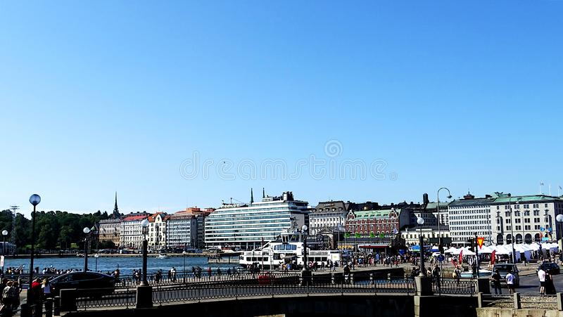 Market Square near Helsinki`s harbor, Helsinki, Finland. Market Square, Helsinki, Finland is one of the most international and famous market royalty free stock images
