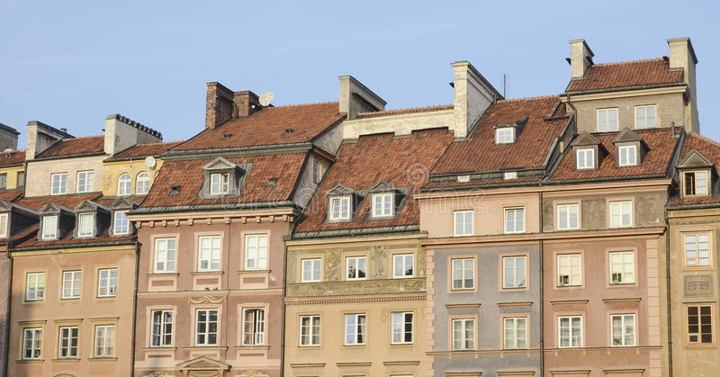 Market Square houses, Warsaw. Colorful buildings on Market Square, Warsaw, Poland royalty free stock photography