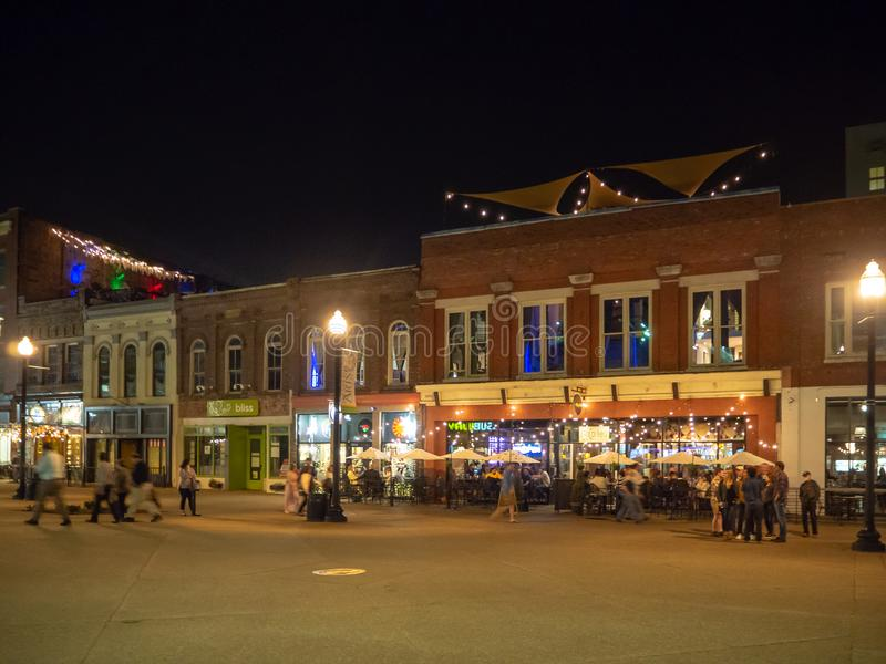 Market Square, Knoxville, Tennessee, United States of America: [Night life in the center of Knoxville]. Market Square, Knoxville, Tennessee, United States of stock photo