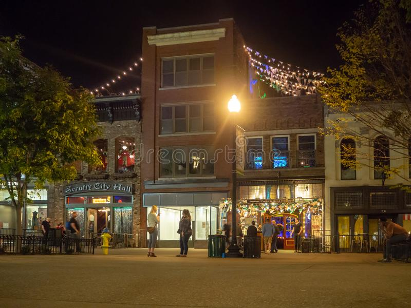 Market Square, Knoxville, Tennessee, United States of America: [Night life in the center of Knoxville]. Market Square, Knoxville, Tennessee, United States of stock image