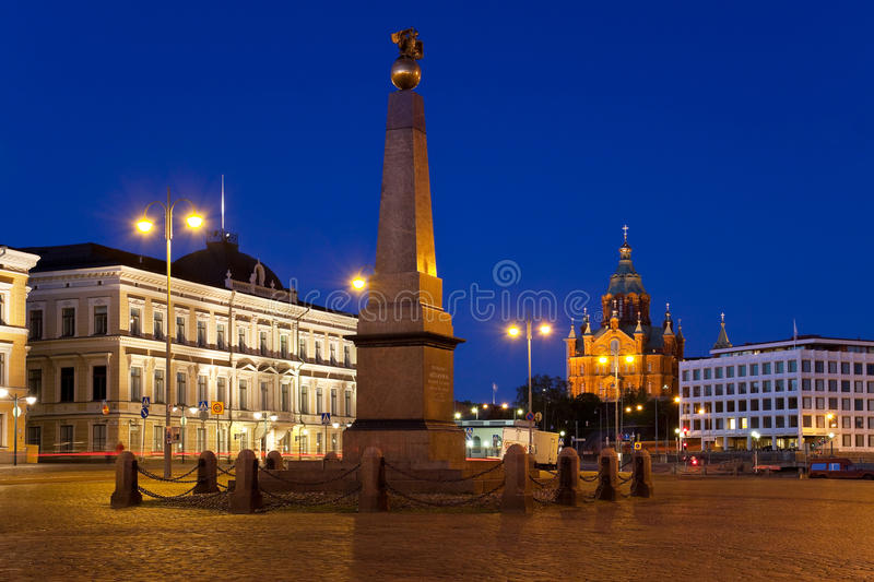 Market Square at night in Helsinki, Finland royalty free stock photography