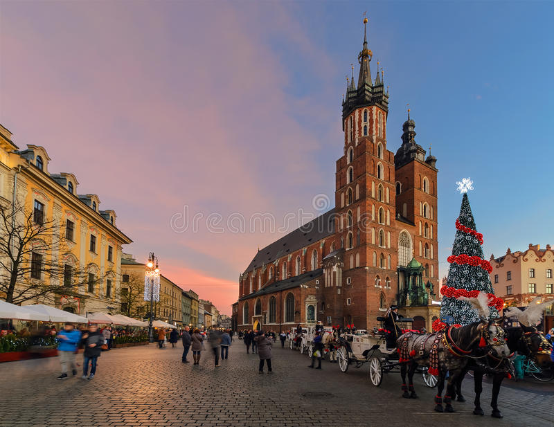 Market Square of the Old City in Krakow decorated by the christmas lights. Poland royalty free stock photos