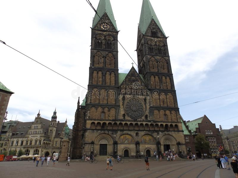 Market square with old historic cathedral church in germany stock photo