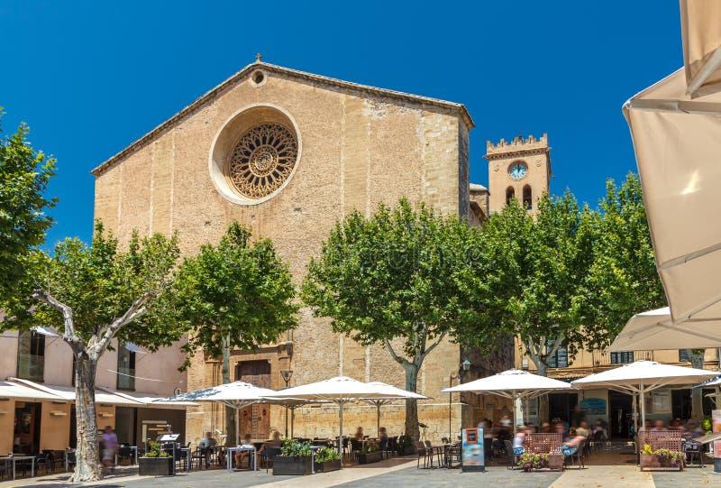 The market square Placa Major - Pollenca - Mallorca royalty free stock photography