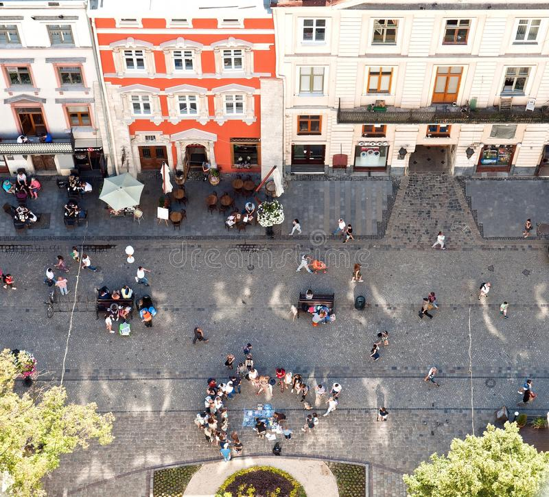 Market square seen from bell tower in Lviv, Ukraine royalty free stock photo