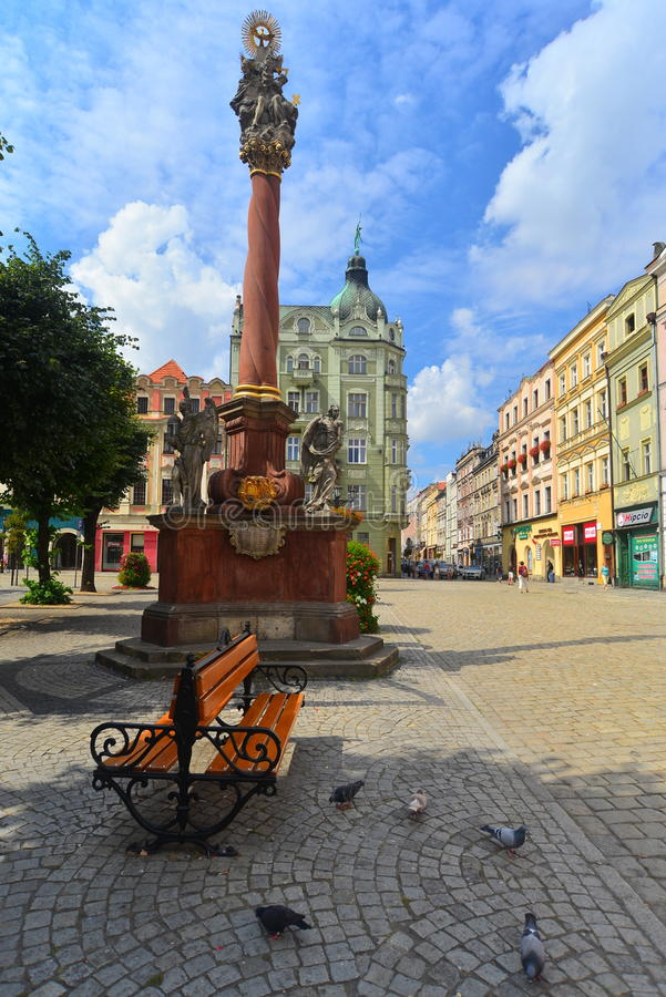 Market square with monument in Swidnica stock image