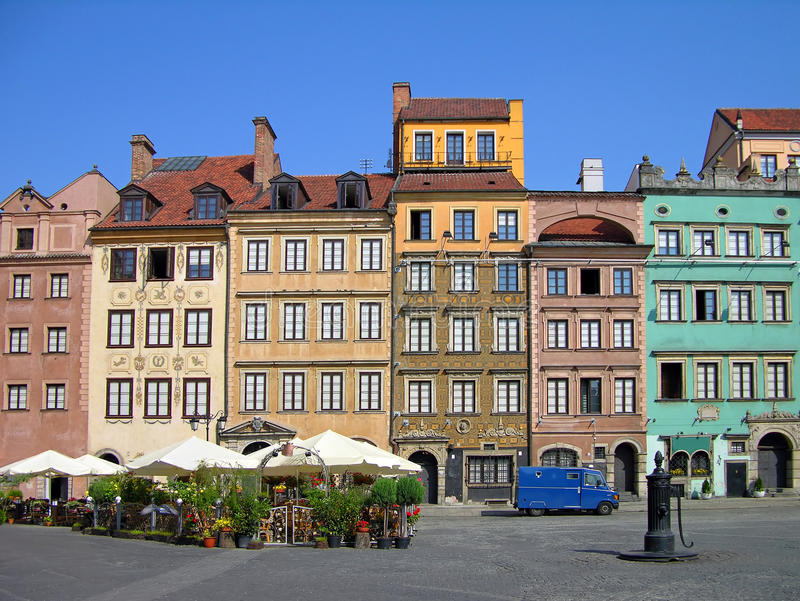 Market Square, Warsaw. Colorful buildings on Market Square, Warsaw, Poland royalty free stock photo