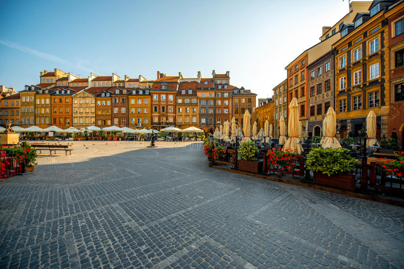 Market square in Warsaw. Market square with cafe and restaurants on a beautiful sunny morning in Warsaw, Poland stock photos