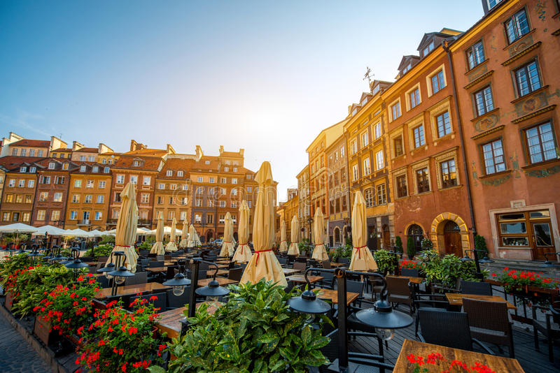 Market square in Warsaw. Market square with cafe and restaurants on a beautiful sunny morning in Warsaw, Poland royalty free stock photo