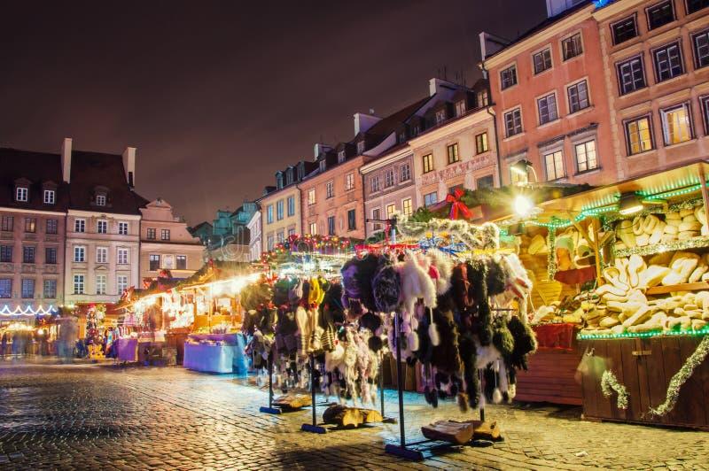 Market Square in Warsaw. Festive market at Market Square in Warsaw at night stock photo