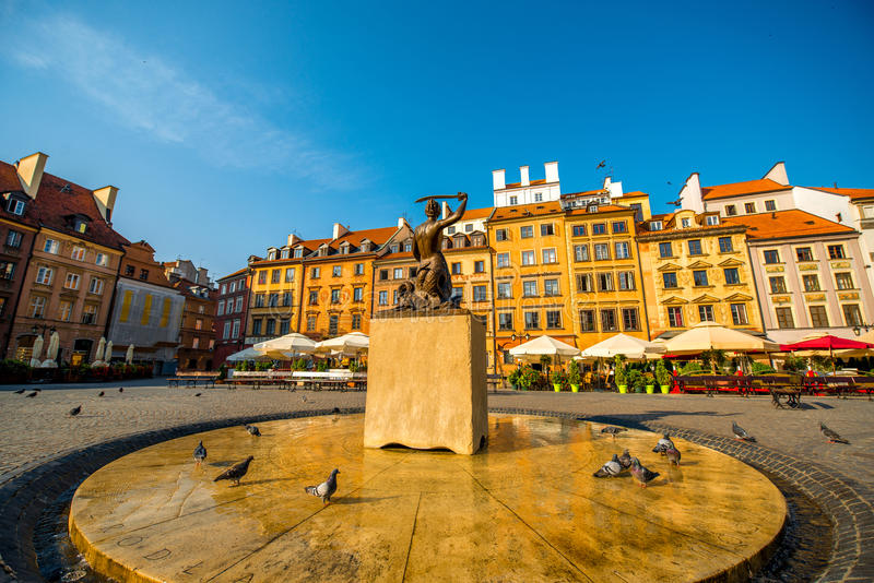 Market square in Warsaw. Market square with fountain on a beautiful sunny morning in Warsaw, Poland stock photo