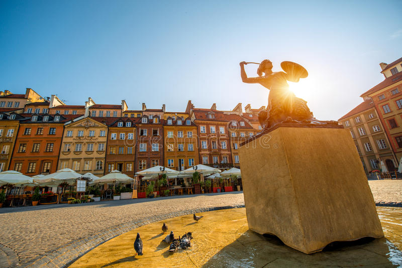 Market square in Warsaw. Market square with fountain on a beautiful sunny morning in Warsaw, Poland stock photography