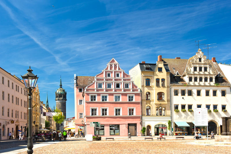 Market square in Wittenberg, main square of old german town. Market square in Wittenberg, main square. Wittenberg is Luther City in Germany, UNESCO World royalty free stock photo