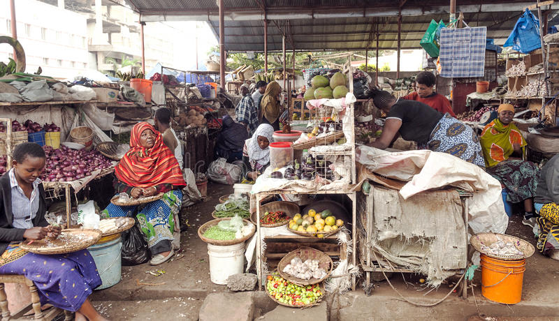 Market Stall in Arusha. With different types of fruits, picture taken in May 2014 stock image