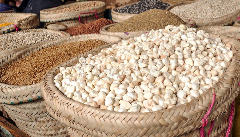 Market Stall in Arusha. With different types of grains stock photo