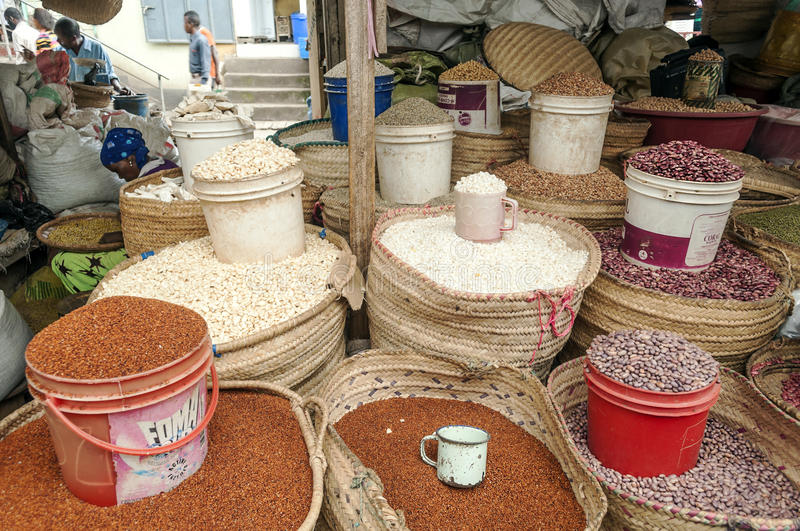 Market Stall in Arusha. With different types of grains, picture taken in May 2014 royalty free stock photos