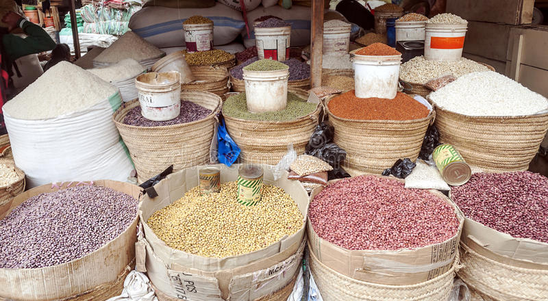 Market Stall in Arusha. With different types of grains, picture taken in May 2014 stock photo