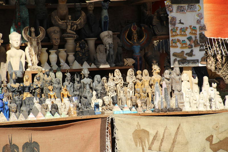 Market Stall. Cairo, Egypt - November 26, 2016: Market stall selling souvenirs to the dwindling numbers of tourists due to recent terrorist attacks. Tourism has stock images