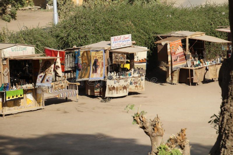 Market Stall. Cairo, Egypt - November 26, 2016: Market stall selling souvenirs to the dwindling numbers of tourists due to recent terrorist attacks. Tourism has stock image