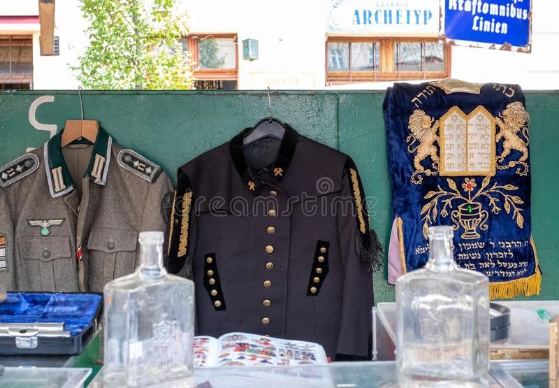 Market stall catering to tourists, selling Judaica and vintage items of Jewish interest, in Plac Nowy, Kazimierz, Krakow Poland royalty free stock image