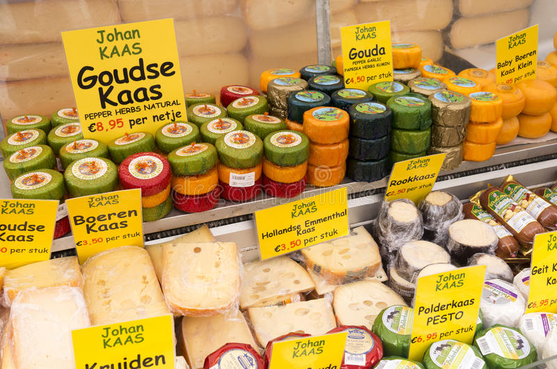 Market stall with cheese on the Albert Cuyp market. stock photo