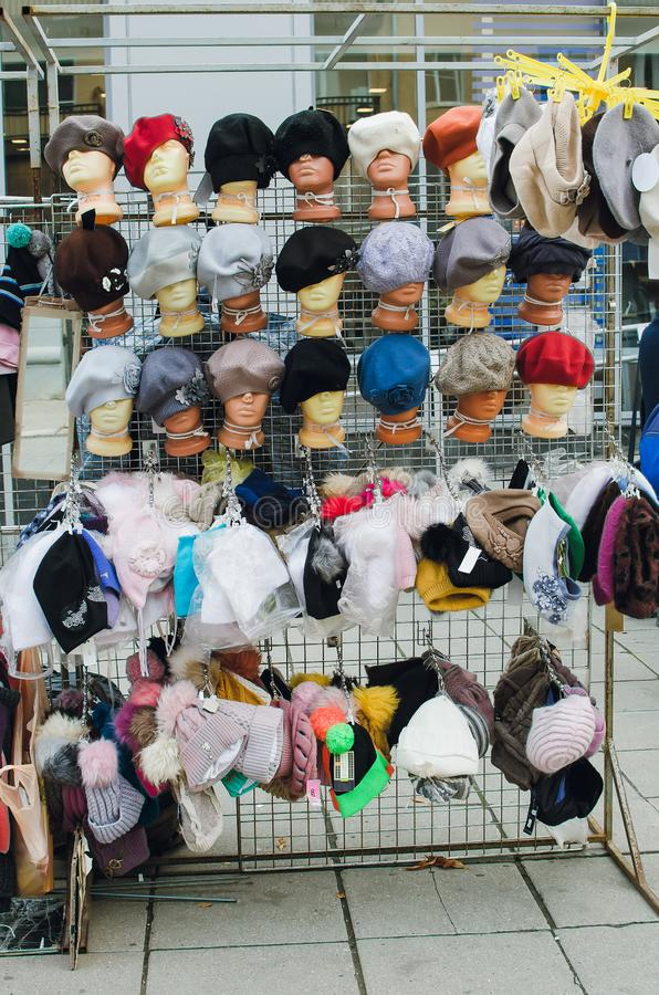 Market stall with craftsmanship hats. Market stall with craftsmanship hats in hats for sale royalty free stock photography