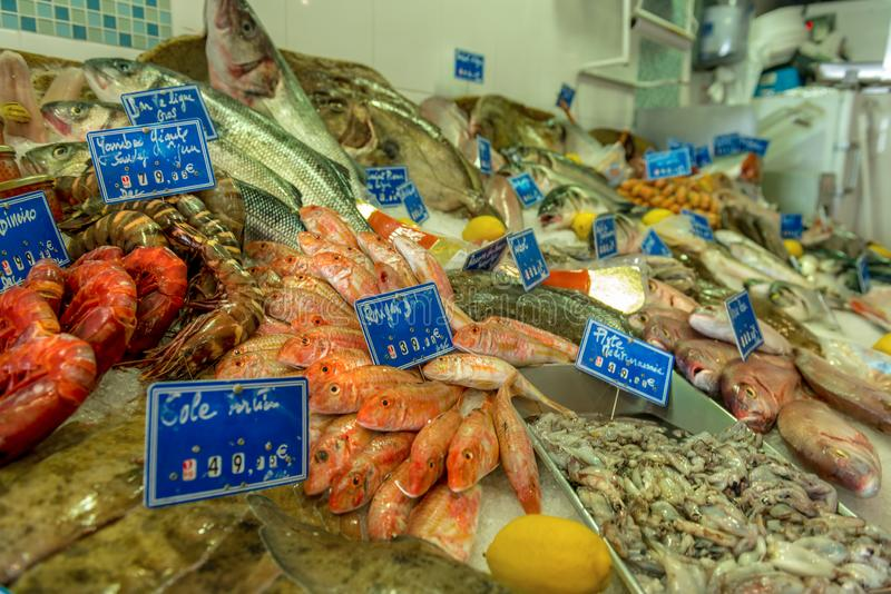 Market stall with fresh seafood royalty free stock images