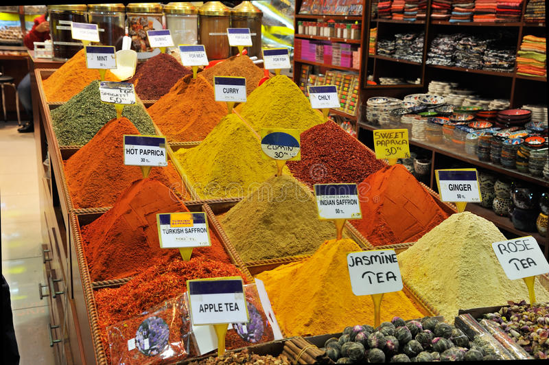 Market stall with spices. In Grand Bazaar, Istanbul, Turkey stock images