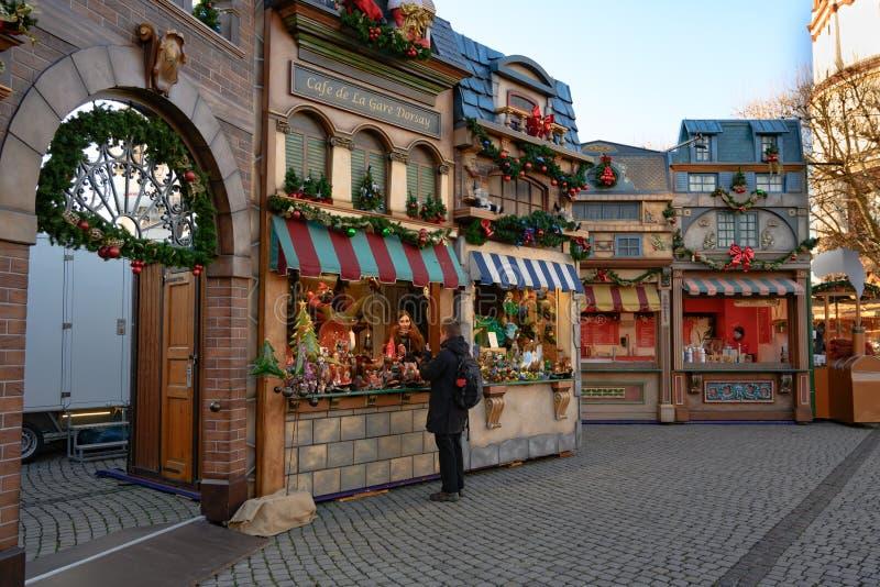 Christmas fair with small village, Dusseldorf, Burgplatz on River Rhine royalty free stock images