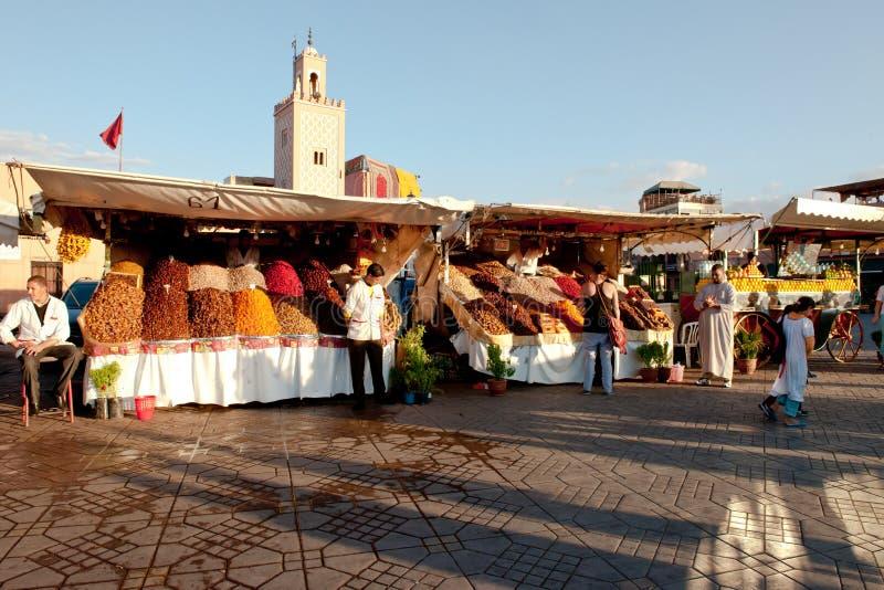 Market stalls on Djemaa el Fna in evening light, Marrakesh stock photo