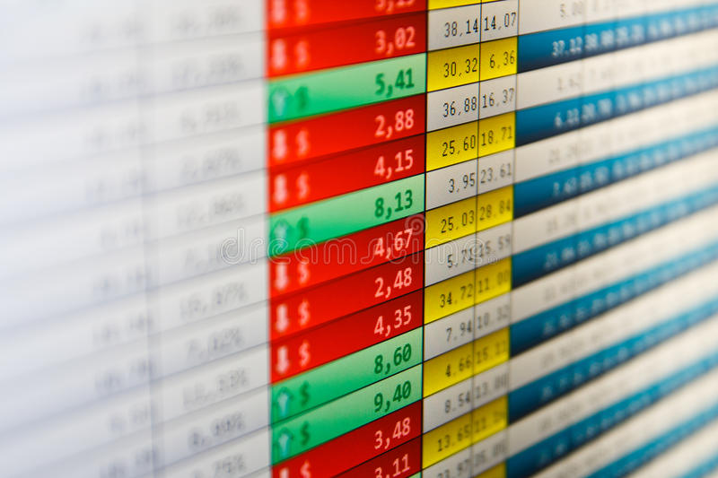 Download Market Stats On Computer Screen Stock Photo - Image: 17329188