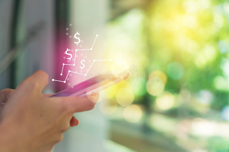 Market stock graph icon screen of smartphone background. Financial business technology freedom dream life using internet freedom stock photography